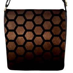 Hexagon2 Black Marble & Bronze Metal (r) Flap Closure Messenger Bag (s) by trendistuff