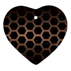 Hexagon2 Black Marble & Bronze Metal Ornament (heart) by trendistuff