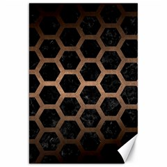 Hexagon2 Black Marble & Bronze Metal Canvas 20  X 30  by trendistuff