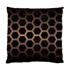 Hexagon2 Black Marble & Bronze Metal Standard Cushion Case (two Sides) by trendistuff