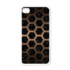 Hexagon2 Black Marble & Bronze Metal Apple Iphone 4 Case (white) by trendistuff