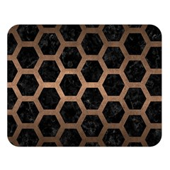 Hexagon2 Black Marble & Bronze Metal Double Sided Flano Blanket (large) by trendistuff