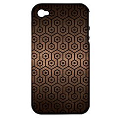 Hexagon1 Black Marble & Bronze Metal (r) Apple Iphone 4/4s Hardshell Case (pc+silicone) by trendistuff