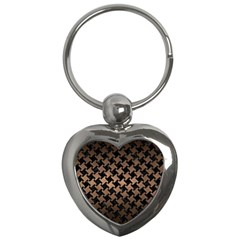 Houndstooth2 Black Marble & Bronze Metal Key Chain (heart) by trendistuff