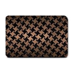 Houndstooth2 Black Marble & Bronze Metal Small Doormat by trendistuff
