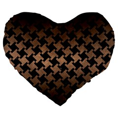 Houndstooth2 Black Marble & Bronze Metal Large 19  Premium Flano Heart Shape Cushion by trendistuff