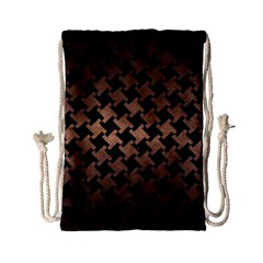 Houndstooth2 Black Marble & Bronze Metal Drawstring Bag (small) by trendistuff