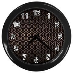Hexagon1 Black Marble & Bronze Metal Wall Clock (black) by trendistuff