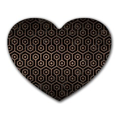 Hexagon1 Black Marble & Bronze Metal Heart Mousepad by trendistuff