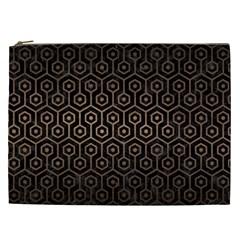 Hexagon1 Black Marble & Bronze Metal Cosmetic Bag (xxl) by trendistuff
