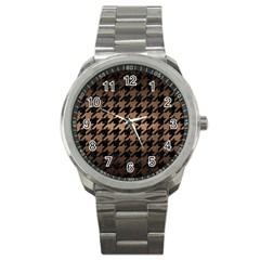Houndstooth1 Black Marble & Bronze Metal Sport Metal Watch by trendistuff