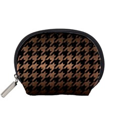 Houndstooth1 Black Marble & Bronze Metal Accessory Pouch (small) by trendistuff