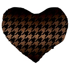 Houndstooth1 Black Marble & Bronze Metal Large 19  Premium Flano Heart Shape Cushion by trendistuff