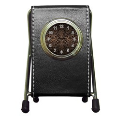 Damask2 Black Marble & Bronze Metal Pen Holder Desk Clock by trendistuff