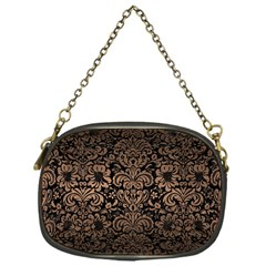 Damask2 Black Marble & Bronze Metal Chain Purse (one Side) by trendistuff