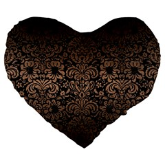 Damask2 Black Marble & Bronze Metal Large 19  Premium Flano Heart Shape Cushion by trendistuff