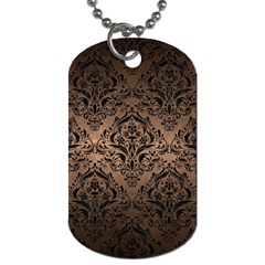 Damask1 Black Marble & Bronze Metal (r) Dog Tag (one Side) by trendistuff