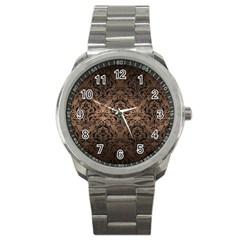 Damask1 Black Marble & Bronze Metal (r) Sport Metal Watch by trendistuff