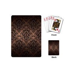 Damask1 Black Marble & Bronze Metal (r) Playing Cards (mini) by trendistuff