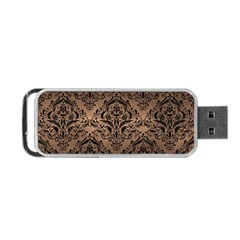 Damask1 Black Marble & Bronze Metal (r) Portable Usb Flash (two Sides) by trendistuff