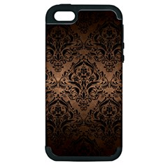 Damask1 Black Marble & Bronze Metal (r) Apple Iphone 5 Hardshell Case (pc+silicone) by trendistuff