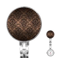 Damask1 Black Marble & Bronze Metal (r) Stainless Steel Nurses Watch by trendistuff