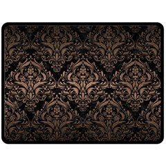 Damask1 Black Marble & Bronze Metal Double Sided Fleece Blanket (large) by trendistuff