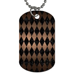 Diamond1 Black Marble & Bronze Metal Dog Tag (two Sides) by trendistuff