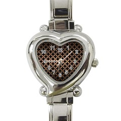 Circles3 Black Marble & Bronze Metal Heart Italian Charm Watch