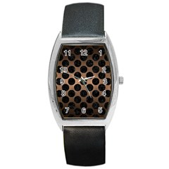 Circles2 Black Marble & Bronze Metal (r) Barrel Style Metal Watch by trendistuff