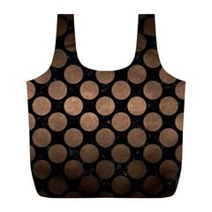 Circles2 Black Marble & Bronze Metal Full Print Recycle Bag (l) by trendistuff