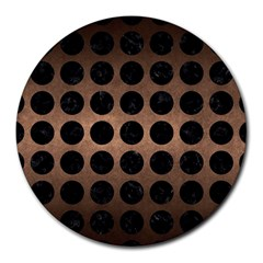Circles1 Black Marble & Bronze Metal (r) Round Mousepad by trendistuff