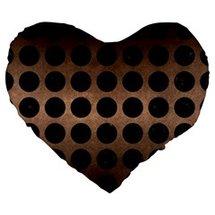 Circles1 Black Marble & Bronze Metal (r) Large 19  Premium Flano Heart Shape Cushion by trendistuff