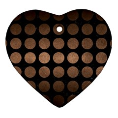 Circles1 Black Marble & Bronze Metal Heart Ornament (two Sides) by trendistuff
