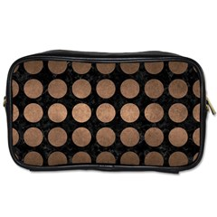 Circles1 Black Marble & Bronze Metal Toiletries Bag (two Sides) by trendistuff