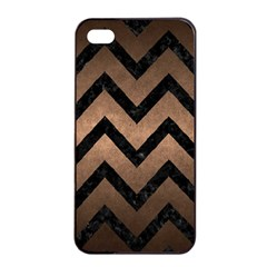 Chevron9 Black Marble & Bronze Metal (r) Apple Iphone 4/4s Seamless Case (black) by trendistuff