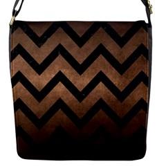 Chevron9 Black Marble & Bronze Metal (r) Flap Closure Messenger Bag (s) by trendistuff