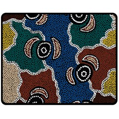 Aboriginal Art   Riverside Dreaming Double Sided Fleece Blanket (medium)  by hogartharts