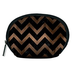 Chevron9 Black Marble & Bronze Metal Accessory Pouch (medium) by trendistuff
