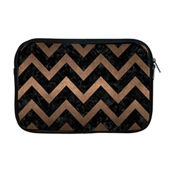 Chevron9 Black Marble & Bronze Metal Apple Macbook Pro 17  Zipper Case by trendistuff