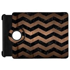 Chevron3 Black Marble & Bronze Metal Kindle Fire Hd Flip 360 Case by trendistuff