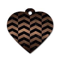 Chevron2 Black Marble & Bronze Metal Dog Tag Heart (two Sides) by trendistuff
