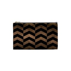 Chevron2 Black Marble & Bronze Metal Cosmetic Bag (small) by trendistuff