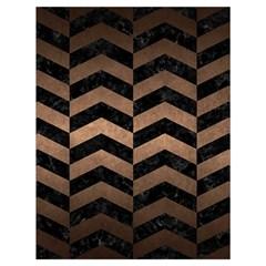 Chevron2 Black Marble & Bronze Metal Drawstring Bag (large) by trendistuff