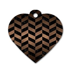 Chevron1 Black Marble & Bronze Metal Dog Tag Heart (two Sides) by trendistuff