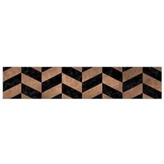 Chevron1 Black Marble & Bronze Metal Flano Scarf (small) by trendistuff