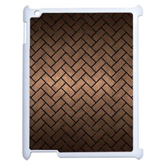 Brick2 Black Marble & Bronze Metal (r) Apple Ipad 2 Case (white) by trendistuff