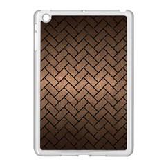 Brick2 Black Marble & Bronze Metal (r) Apple Ipad Mini Case (white) by trendistuff