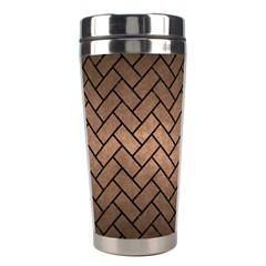 Brick2 Black Marble & Bronze Metal (r) Stainless Steel Travel Tumbler by trendistuff
