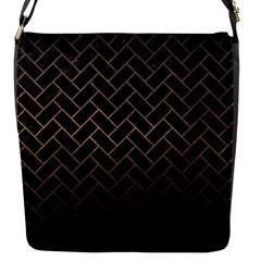 Brick2 Black Marble & Bronze Metal Flap Closure Messenger Bag (s) by trendistuff